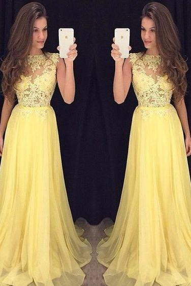 Bg715 Charming Prom Dress,Yellow Chiffon Prom Dress,Appliqus Prom Dress,See Though Prom Dress