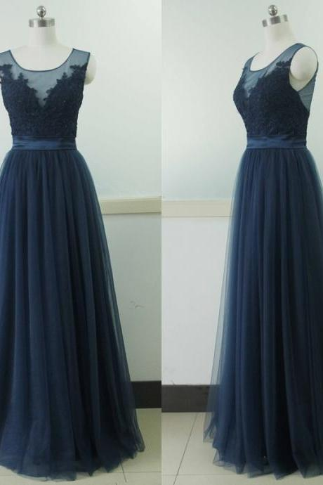Bg791 See Though Prom Dress,Navy Blue Prom Dresses,Appliques Prom Dress,Organza Prom Dress,Long Evening Dress,Evening Gown