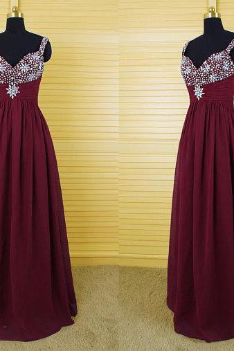 Bg853 Long Prom DressBurgundy Prom Dress,Chiffon Prom Dress,Evening Formal Dress,Women Dress