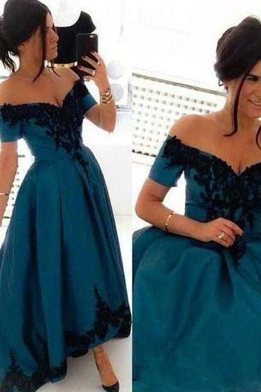 Bg876 High Quality Prom Dress,Fashion Short Prom Dresses High Low Off The Shoulder Cap Sleeve Royal Blue Plus Size Evening Dress