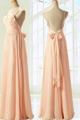 Bg915 Simple Prom Dress,Elegant Spaghetti Straps Sweetheart Long Prom Dress,Peach Chiffon Ribbon Bridesmaid Dress