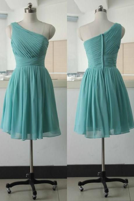 One Shoulder Chiffon Short Prom Dress,Pretty Homecoming Dress