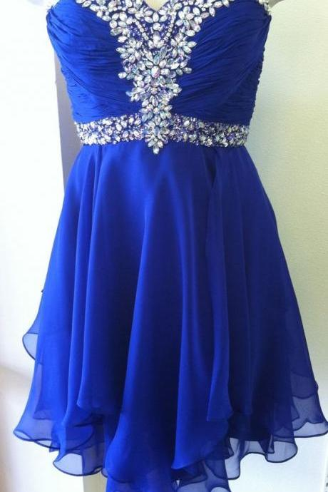 Bg945 Royal Blue Homecoming Dress,Short Prom Dress,Chiffon Prom Gown,Crystal Graduation Dress,Homecoming Dresses 2016
