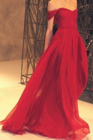Bg975 Charming Prom Dress,Off the Shulder Red Prom Dress,Chiffon Prom Dress,Long Evening Dress,Evening Gown
