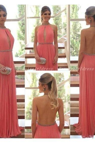 Bg1034 High Quality Prom Dress,Halter Prom Dress,Chiffon Prom Dresses,Backless Prom Dress,Long Evening Dress,Formal Dress