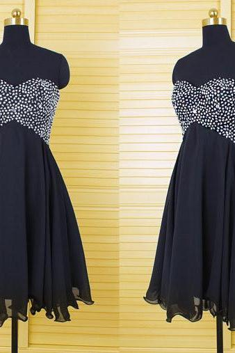 Bg1074 Charming Prom Dress,Short Prom Dress,Black Prom Dresses,Beading Prom Dress