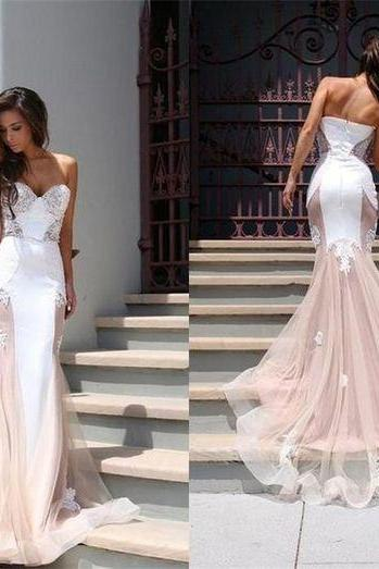 Lace Appliqués Sweetheart Floor Length Mesh Mermaid Wedding Dress