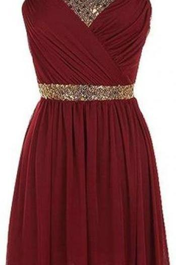 Bg1212 Cute Burgundy Homecoming Dress,Chiffon Homecoming Dresses,Short Prom Dress