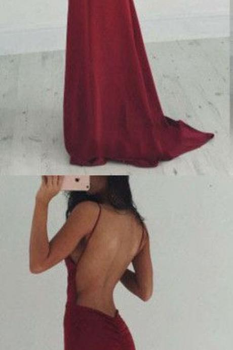 Bg1326 Charming Prom Dress,Sexy Backless Burgundy Prom Dress Evening Party Dress