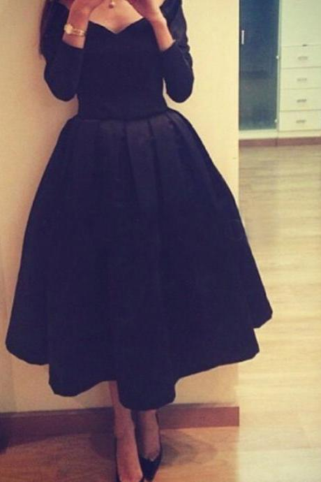Bg1336 Black Short Prom Dresses,Evening Dresses, Long Sleeves V-Neck Tea Length Party Dress