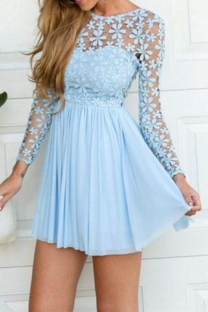 Charming Prom Dress,Long Sleeve Prom Dress,Chiffon Prom Dress,Short Prom Dress,Sexy Prom Dress