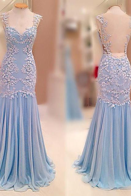 Charming Prom Dress,Chiffon Prom Dress with Appliques,Long Prom Dresses,Sexy Backless Prom Dress