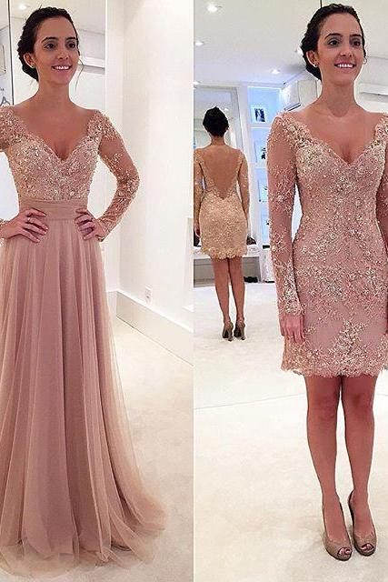Charming Prom Dress,Long Sleeve Prom Dress,Appliques Prom Dress,Long Prom Dress,Sexy Prom Dress