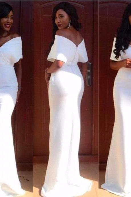 Charming Evening Dress,White Prom Dress,Long Evening Dress,Formal Dress,Mermaid Prom Dress