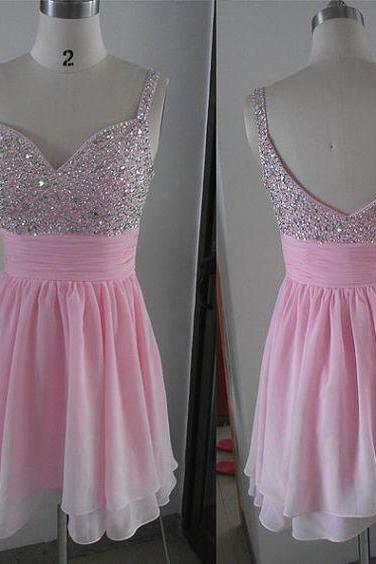 Charming Prom Dress,Spaghetti Straps Prom Dress,Short Prom Dress,Pink Prom Dress