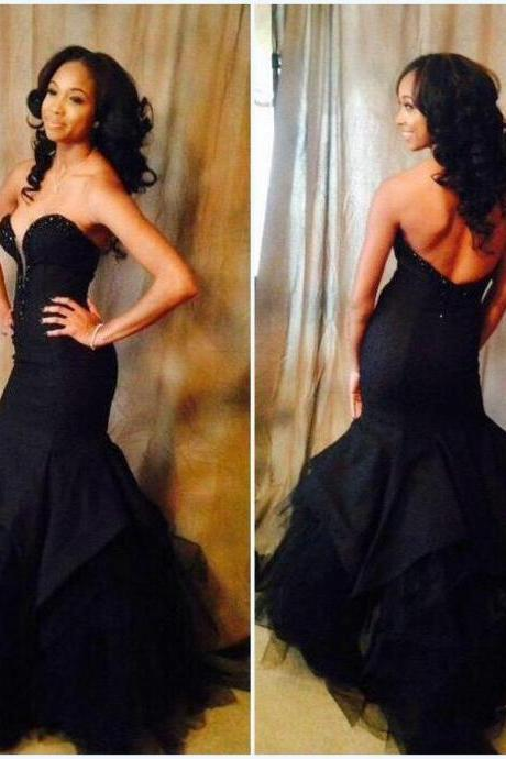 Charming Prom Dress,Black Mermaid Prom Dress,Sexy Backless Prom Dress,Long Prom Dress