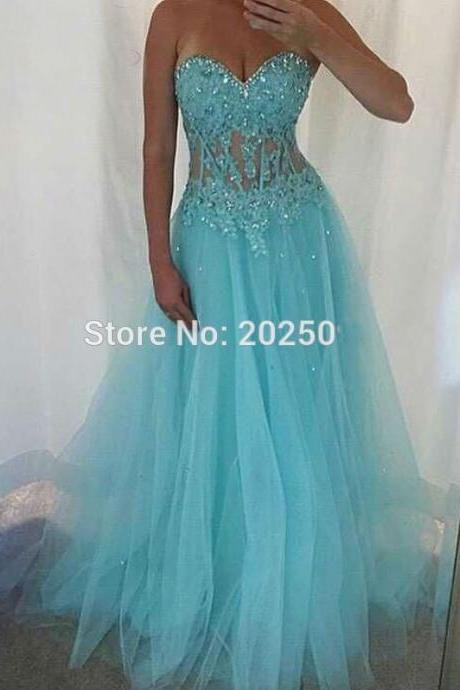 Charming Prom Dress,Blue Tulle Prom Dress,Long Prom Dresses,Sweetheart Beading Prom Dresses
