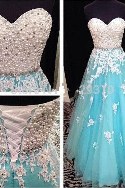 Charming Prom Dress,Blue Tulle Prom Dress,Long Prom Dresses with Beaded,Sweetheart Prom Dresses