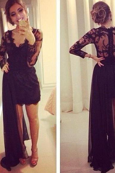 Charming Prom Dress,Long Sleeve Prom Dress,Chiffon Prom Dress,Evening Formal Dress