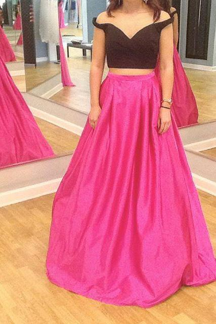 Two Piece Prom Dress,Long Prom Dresses,Pretty Prom Gown for Teens