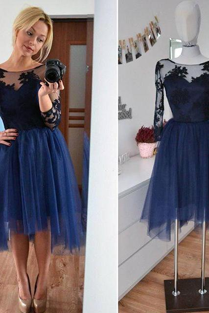 Charming Tulle Prom Dress,Long Sleeve Prom Dress,Short Prom Dresses