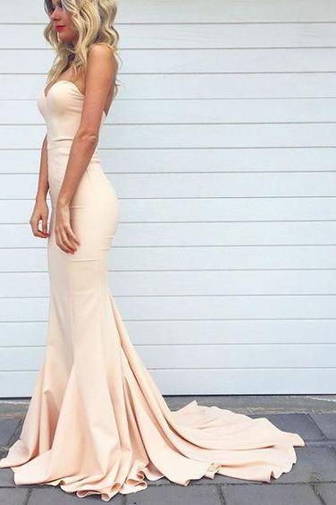 Charming Mermaid Prom Dress,Sweetheart Neck Prom Dress,Champagne Prom Dress