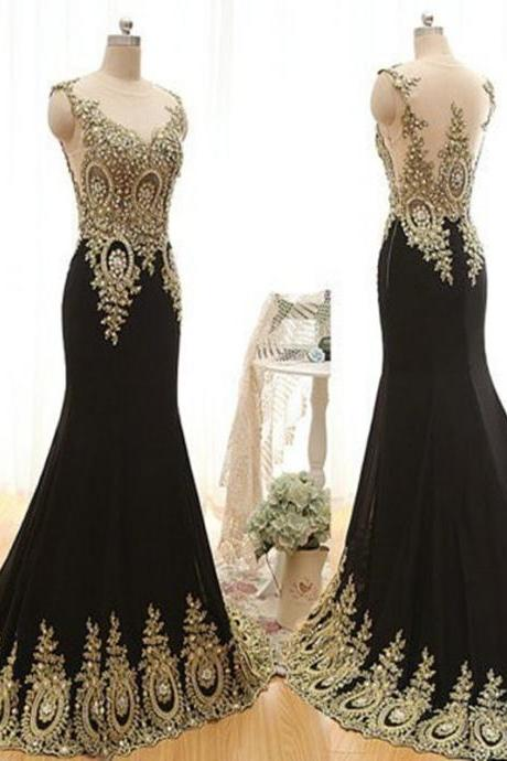 Gold Beaded Scoop Sleeveless Evening Dress Long Party Dresses,Luxury Mermaid Black Prom Dresses