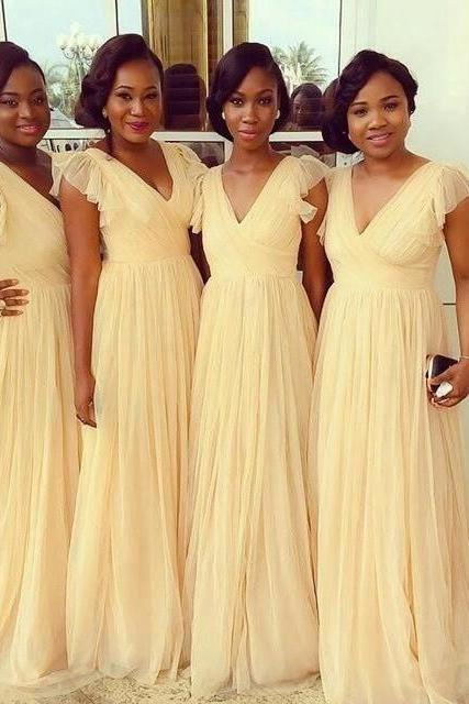Light Yellow A Line Bridesmaid Dresses Chiffon V Neck Floor Length Ruffled Bridesmaid Party Gowns