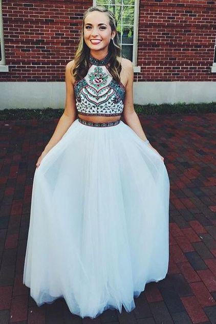 Charming Prom Dress,Two Piece Chiffon Prom Dress,Long Prom Dresses,Evening Gown,Formal Dress