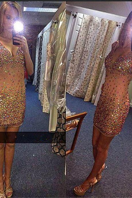 Sexy V-Neck Sequin Prom Dresses 2016 Modest Graduation Short Evening Dress