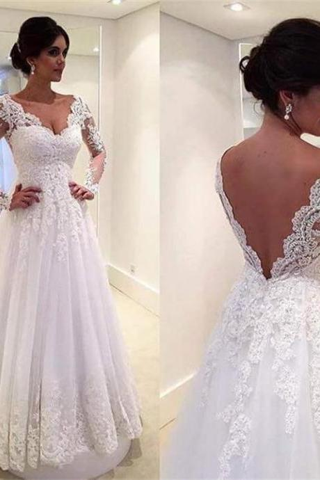 Simple White Vintage Wedding Dress V-Neck Lace Appliques Sheer Long Sleeve Bridal Gowns
