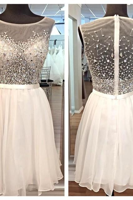 White Homecoming Dress,Beading Homecoming Dresses