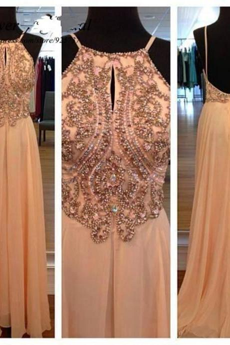 Chiffon Peach Evening Dresses Long A-line Backless Champagne Crystal Dress Wedding Party Dress Evening Formal Dress