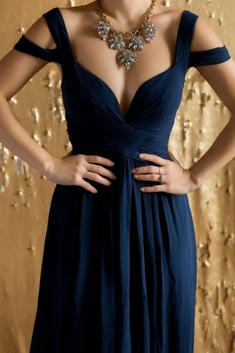 New Arrival Navy Blue Chiffon Prom Dress,Sexy Backless Evening Formal Gown,Long Prom Dress,Evening Dress