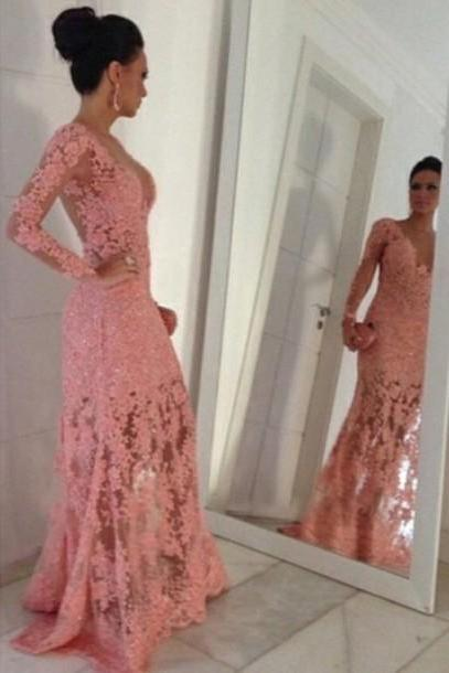 Sexy Prom Dress,Long Sleeve Evening Formal Dress,Formal Prom Gown, Lace Prom Dress