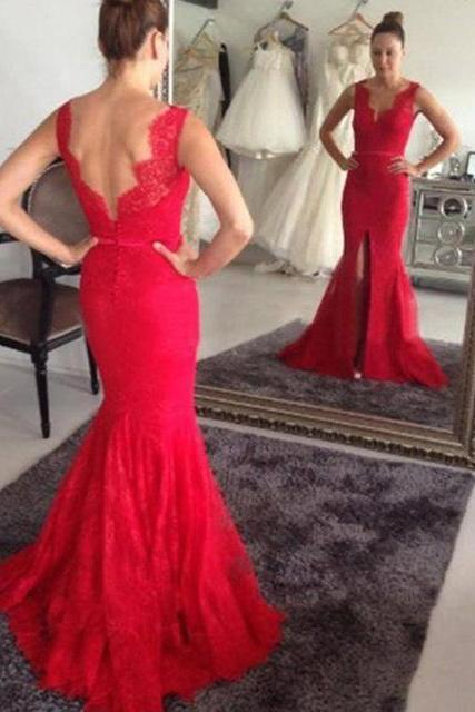 Charming Red Lace Prom Dress,Long Evening Formal Dress,Mermaid Prom Dresses,Backless Split Prom Dress