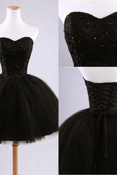 Charming Prom Dress,Black Sweetheart Homecoming Dress,Short Homecoming Dresses,Beaded Prom Dress
