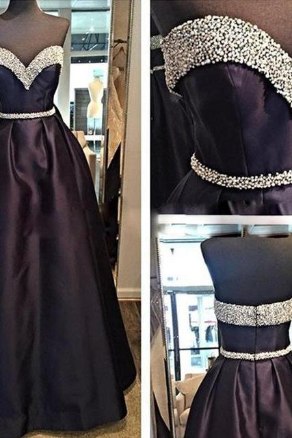 Sweetheart Beading Long Evening Formal Dress,Simple Back Evening Gown