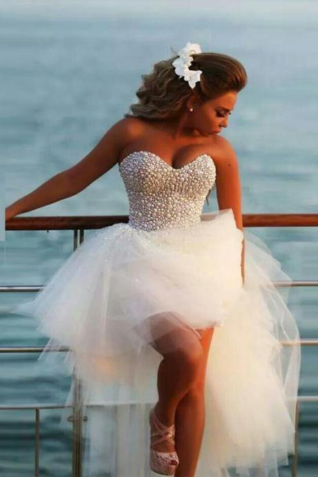 Fashionable Wedding Dresses ,High Low Tulle Short Wedding Dress,Beading Bridal Dress