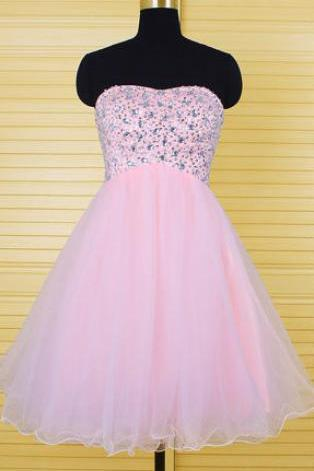 New Arrival Love Prom Dress,Elegant Beaded Prom Dress,Short Party Dress for Prom,Mini Prom Gown,Tulle Party Gown