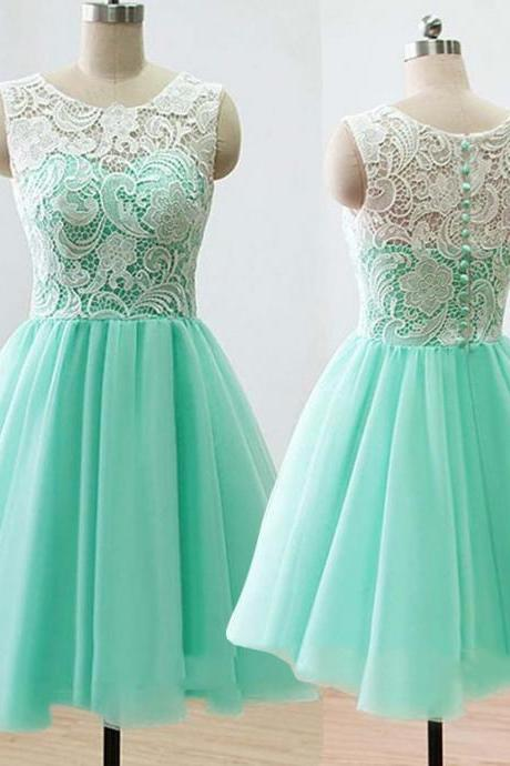 Charming Prom Dress,Mint Green Tulle Prom Dress with Lace,Lace Prom Gown,Mini Prom Party Dress,Cute Prom Dress