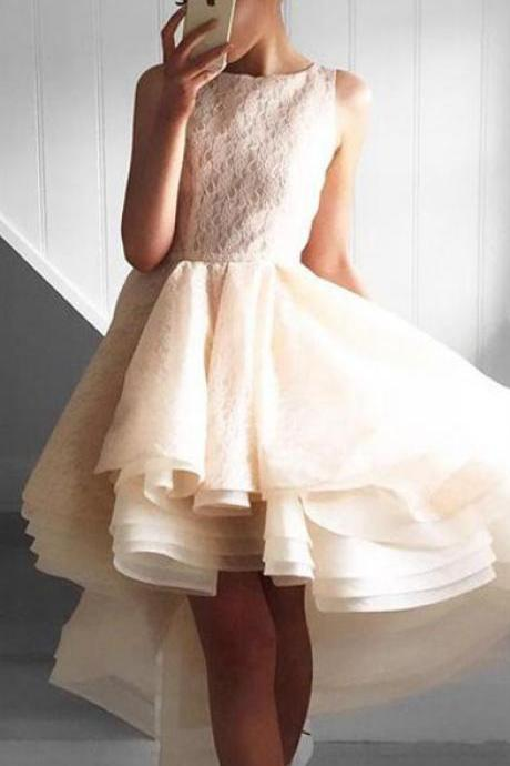 Sexy Prom Dress,Lace High Low Prom Dress,Tulle Prom Dress,Elegant Prom Dresses, Prom Party Dress