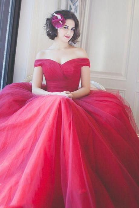 Vestido De Noiva Vintage Tulle Wedding Dress,Ball Gown Red Wedding Dress, Off the Shoulder Bridal Dresses