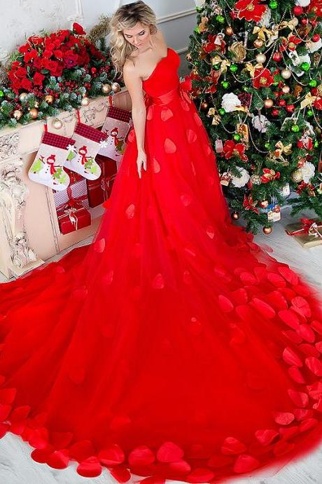 Red Wedding Dresses with Flowers, Sexy Girl Wedding Dress,Sexy Wedding Gown, Vestidos De Novia