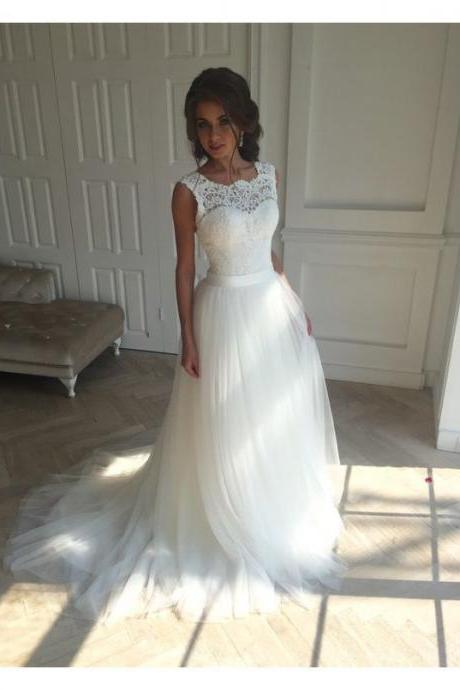 High Quality Elegant White Lace Wedding Dress, Vestido Vintage Wedding Gown,Bridal Dresses