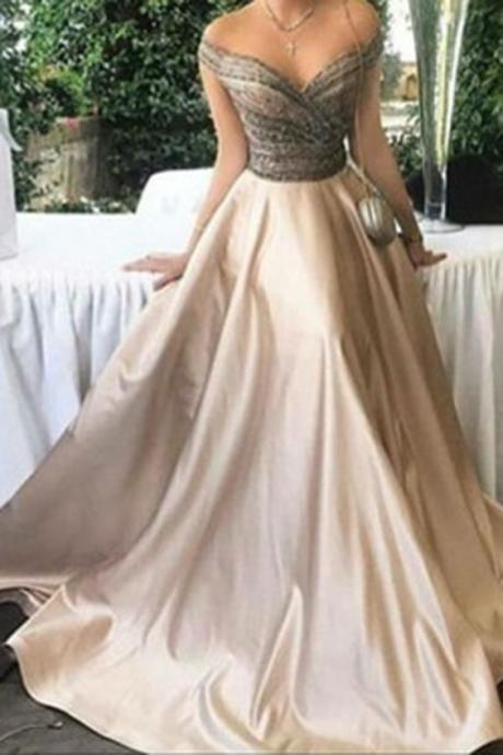 High Quality Prom Dress,A Line Evening Dress, Sexy Beaded Prom Dresses,2017 Ball Gown Prom Dress,Long Evening Dresses, Formal Gown