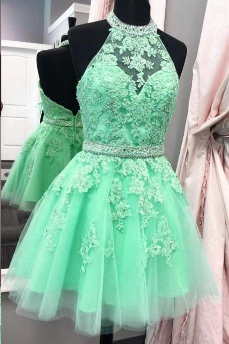 Tulle Homecoming Dress, Halter Homecoming Dresses, New Arrival Tulle Prom Dress,Beaded Homecoming Dress,Short Homecoming Dress,Appliques Graduation Dress, Senior Homecoming Dress