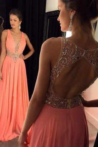 Charming Prom Dress, Chiffon Prom Dresses, Backless Beaded Evening Dress, Sexy V Neck Sleeveless Prom Party Dress