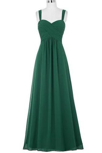 Simple Bridesmaid Dress,Dark Green Bridesmaid Dresses,Spaghetti Strap Bridesmaid Dress