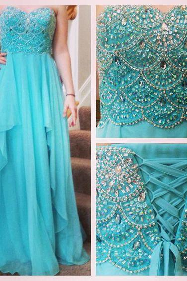 Charming Prom Dress, Sexy Prom Dresses,Long Prom Dress,Sweetheart Beaded Prom Dress,Chiffon Evening Dress,Evening Dresses